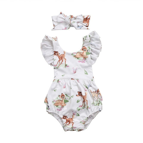 Baby Deer Ruffled Sleeve Bodysuit & Headband 2pcs Set