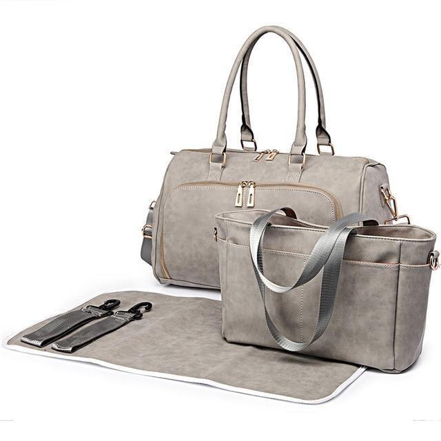 Pewter Faux Leather Change Bag,,CIAMBI,CIAMBI diaper bag, nappy bag, change bag