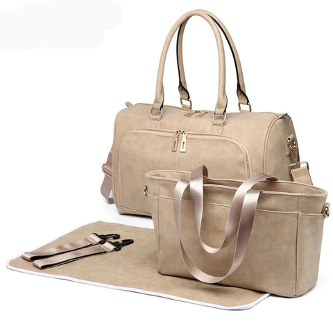 Cream Faux Leather Change Bag,,CIAMBI,CIAMBI diaper bag, nappy bag, change bag