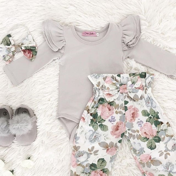 Ruffled Bodysuit and Floral Pants Set (Beige + White/Green)