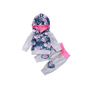 Floral Hoodie and Pants Set (Grey + Fuschia Trim)
