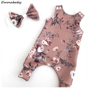 Dusty Pink Floral Romper Set with Bow