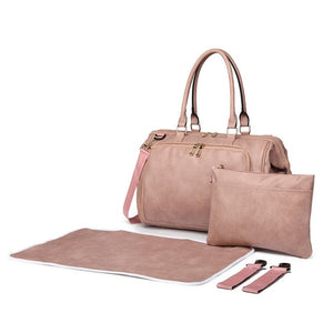 Dusty Pink Faux Leather Nappy Bag,,CIAMBI,CIAMBI diaper bag, nappy bag, change bag