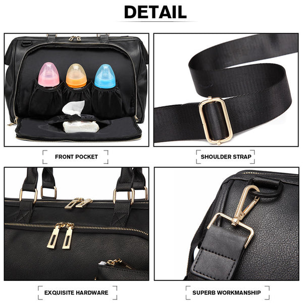Coal Faux Leather Nappy Bag,,CIAMBI,CIAMBI diaper bag, nappy bag, change bag