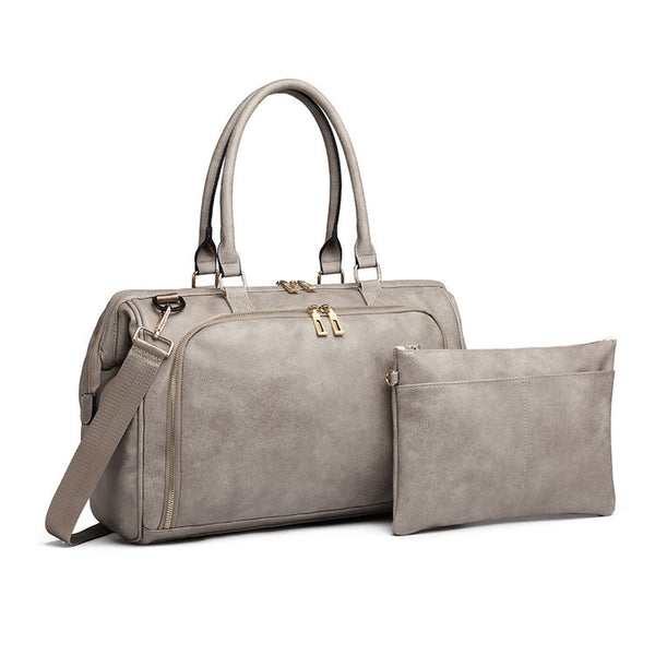 Ash Grey Faux Leather Nappy Bag,,CIAMBI,CIAMBI diaper bag, nappy bag, change bag
