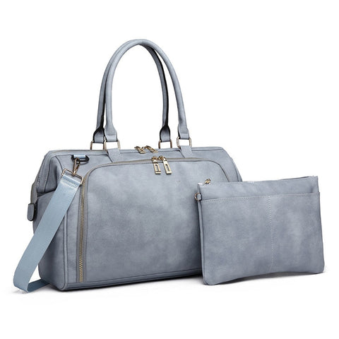 Smoky Blue Faux Leather Change Bag,,CIAMBI,CIAMBI diaper bag, nappy bag, change bag