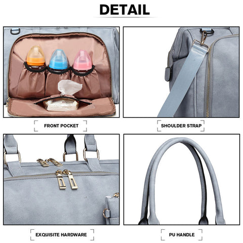 Image of Smoky Blue Faux Leather Change Bag,,CIAMBI,CIAMBI diaper bag, nappy bag, change bag