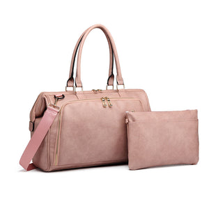 Dusty Pink Faux Leather Nappy Bag