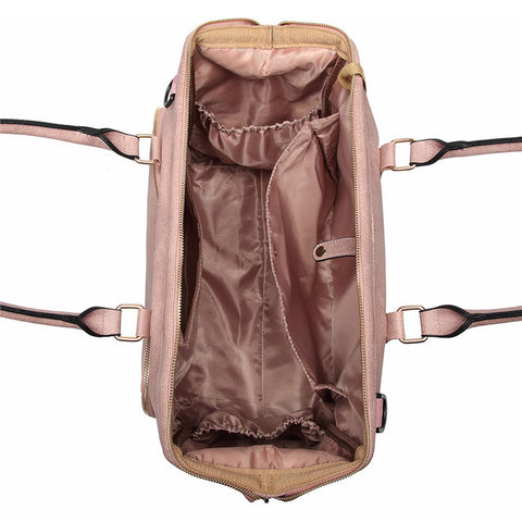 Image of Dusty Pink Faux Leather Nappy Bag,,CIAMBI,CIAMBI diaper bag, nappy bag, change bag