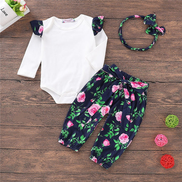 In the Garden Floral Bodysuit and Pants Set (3pcs)
