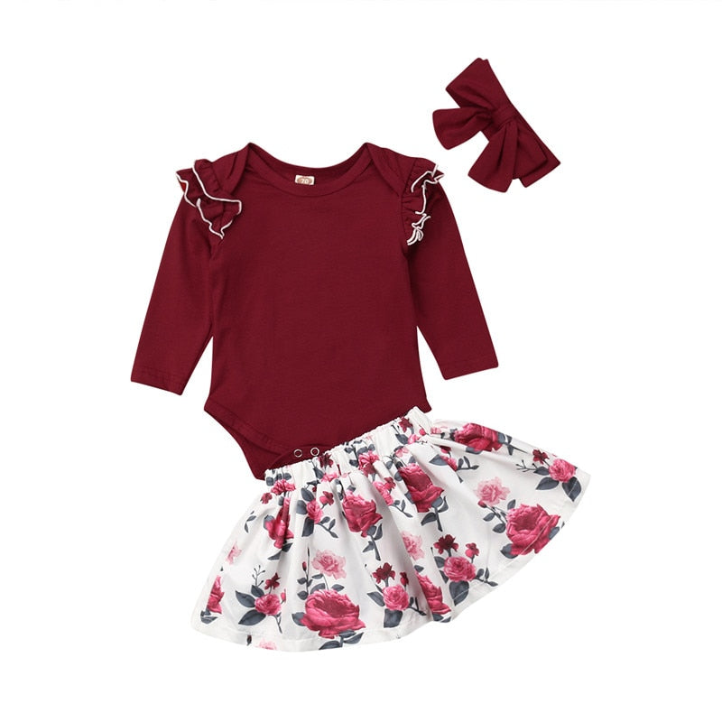 Maroon Romper and Skirt Set
