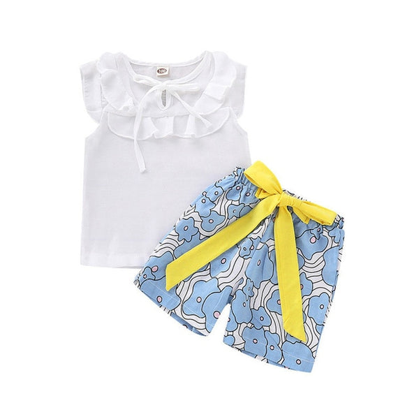 Among the Flowers Girl Short and Top Set