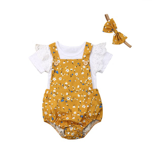 Yellow Daisy Romper + Ruffle Sleeve Bodysuit  Set