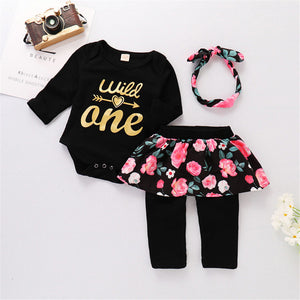 Wild One Black Floral Set