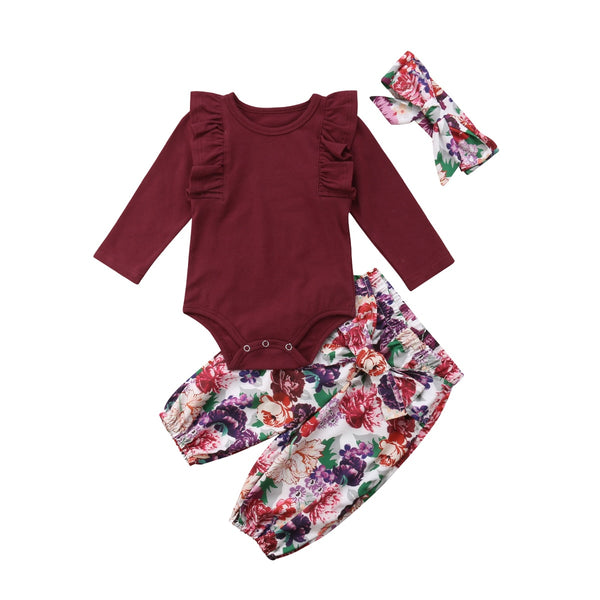 Ruffled Bodysuit and Floral Pants Set (Red/Maroon + Pink)