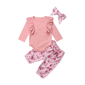 Pink Ruffle Bodysuit and Floral Pants Set