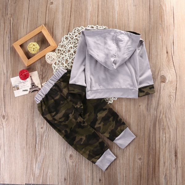 Camo Hoodie and Pants Set