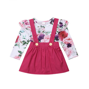 Floral Onesie and Fuschia Skirt Set