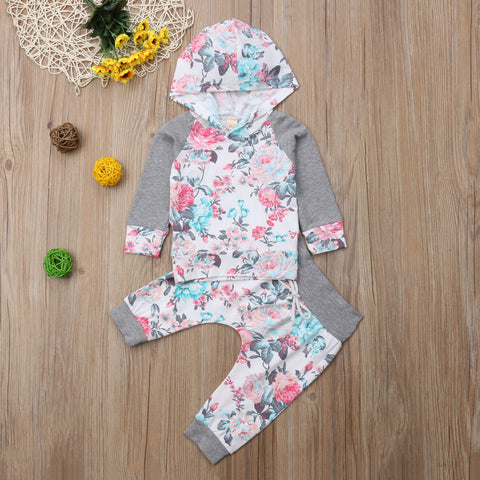 Floral Hoodie and Pants Set