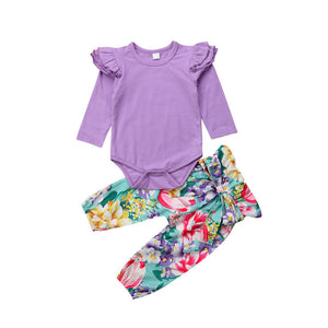 Purple Ruffle Romper and Floral Pants Set