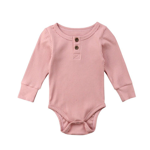 Long Sleeve Buttoned Onesie (Pink)