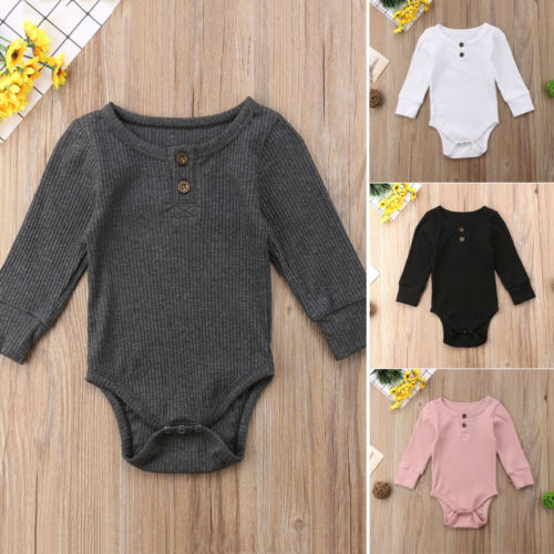 Long Sleeve Buttoned Onesie (Grey)