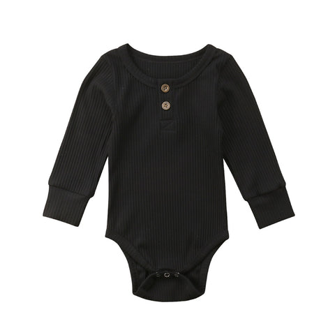 Long Sleeve Buttoned Onesie (Black)