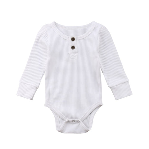 Long Sleeve Buttoned Onesie (White)