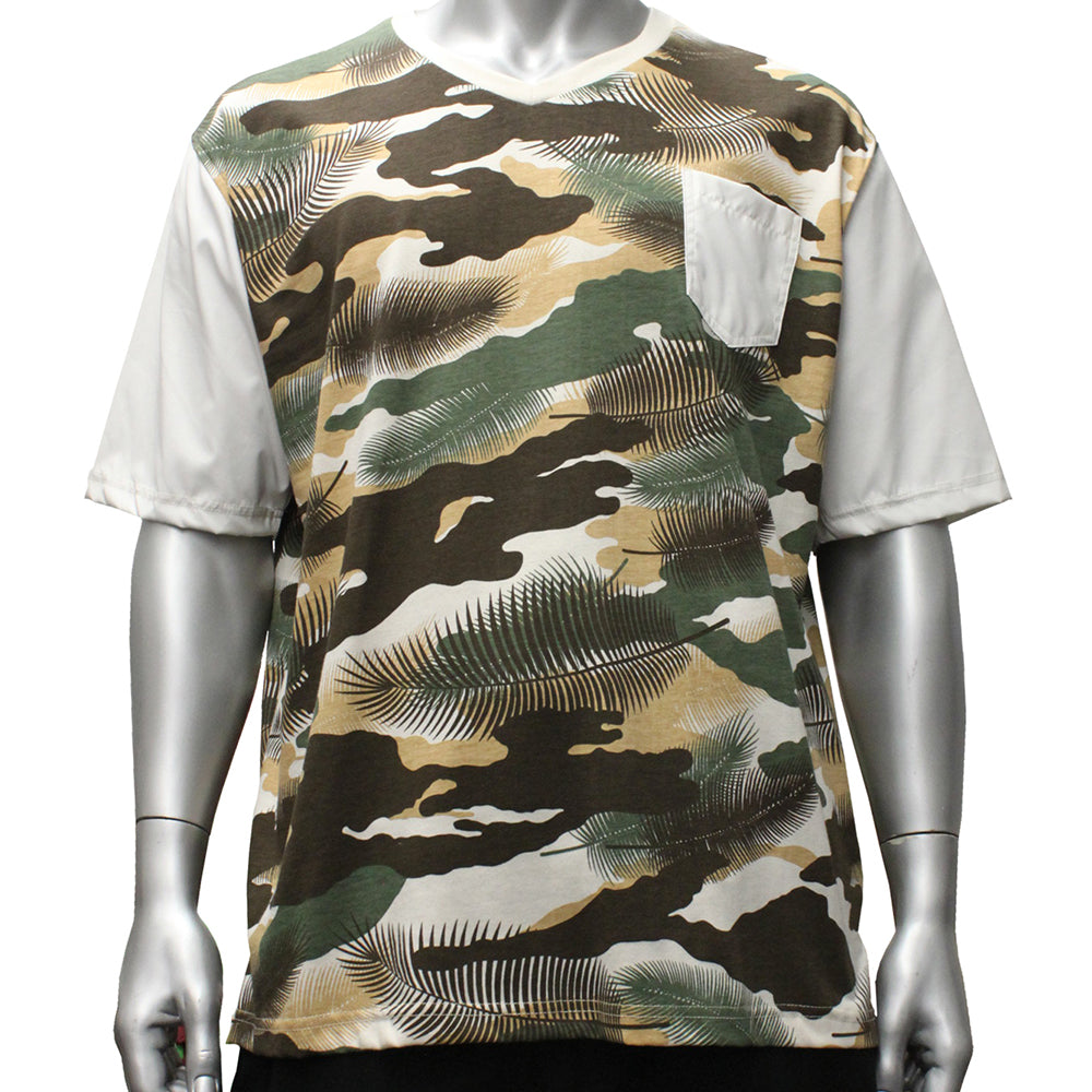 V223 V-NECK CAMO LEAF - Yabu Fashion