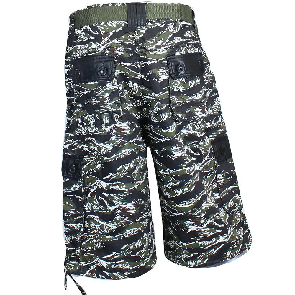 V727 TIGER CAMO TWILL SHORTS - Yabu Fashion