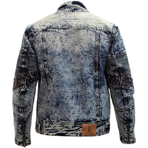 M1047 MAKOBI DENIM BIKER JACKET W/ EYELETS - VINTAGE - Yabu Fashion