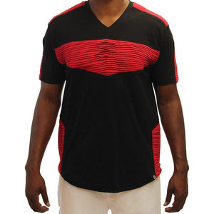 M115 MAKOBI BIKER TEE - BLACK/RED - Yabu Fashion