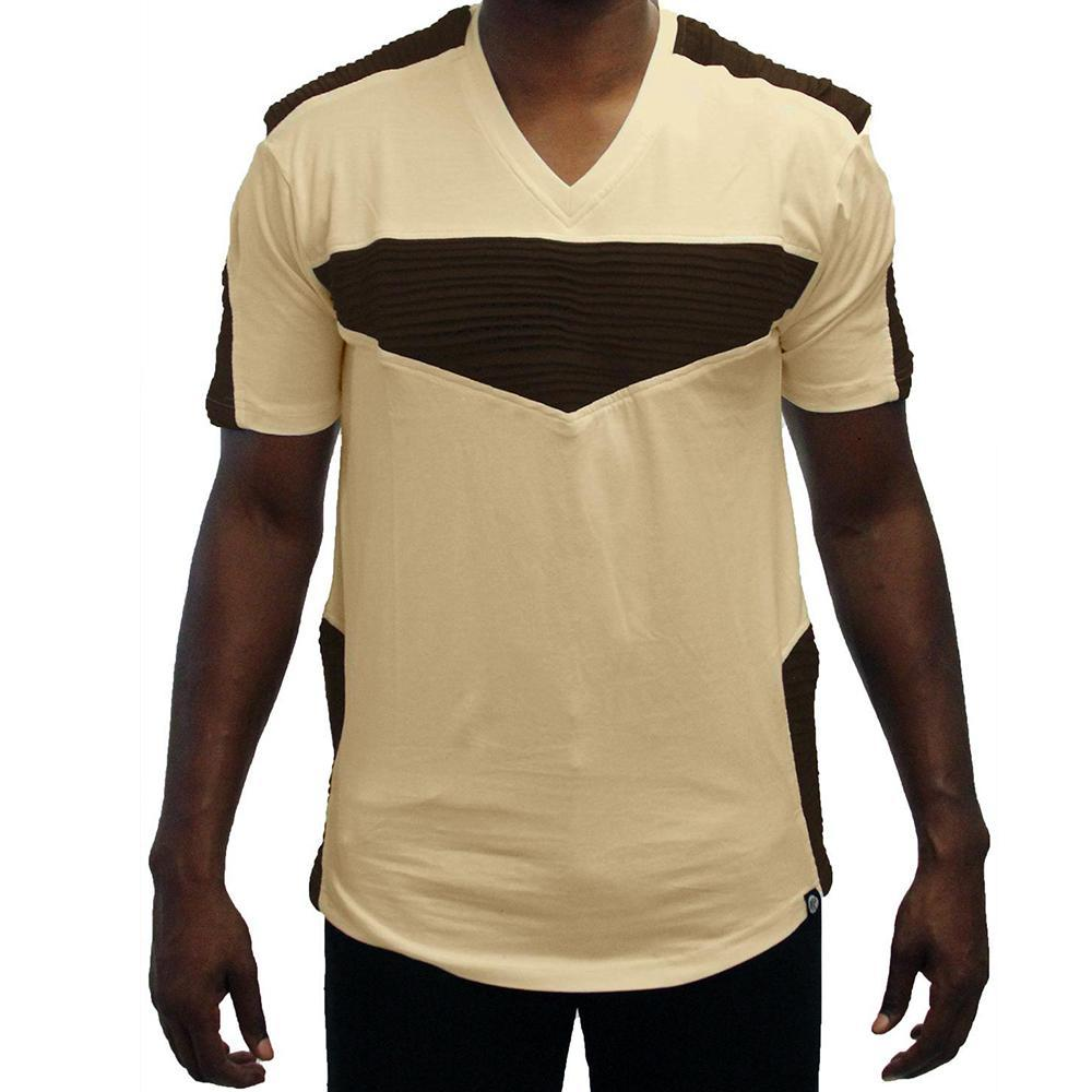 M115 MAKOBI BIKER TEE NATURAL/BROWN - Yabu Fashion