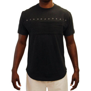 M147 MAKOBI BIKER TEE W/ EYELETS & SIDE ZIPPERS - Yabu Fashion