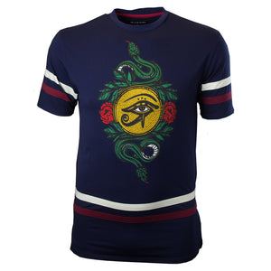 M159 Makobi Forbidden Snake Tee W/ Embroidery - NAVY - Yabu Fashion