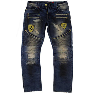 M1730 MAKOBI BIKER JEANS W/ PATCHES - DARK WASH - Yabu Fashion