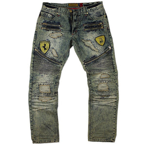 M1730 MAKOBI BIKER JEANS W/ PATCHES - DIRT WASH - Yabu Fashion