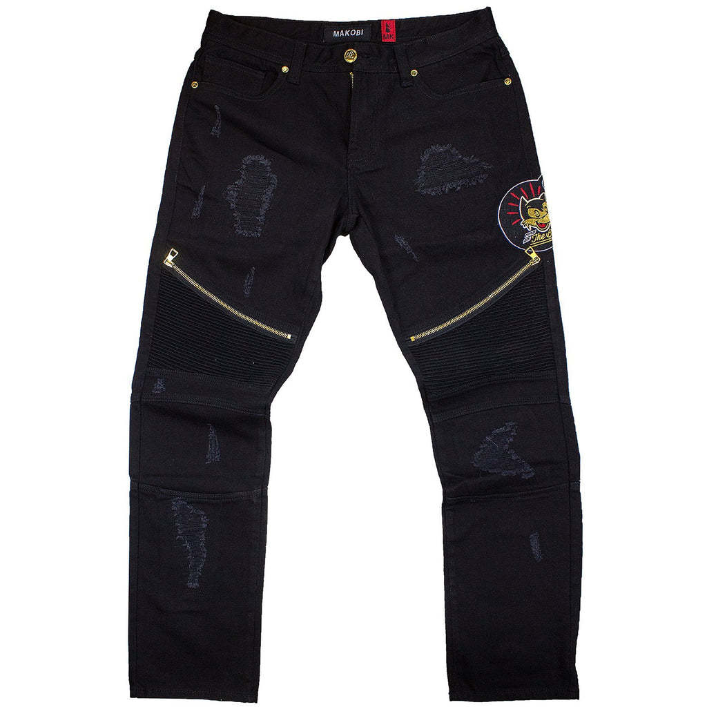 M1767 MAKOBI THE BAG BIKER JEANS W/ PATCHES - Yabu Fashion