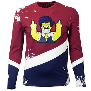M209 MAKOBI EL CHAPO SIMPSON LONG SLEEVE TEE - BURGUNDY - Yabu Fashion