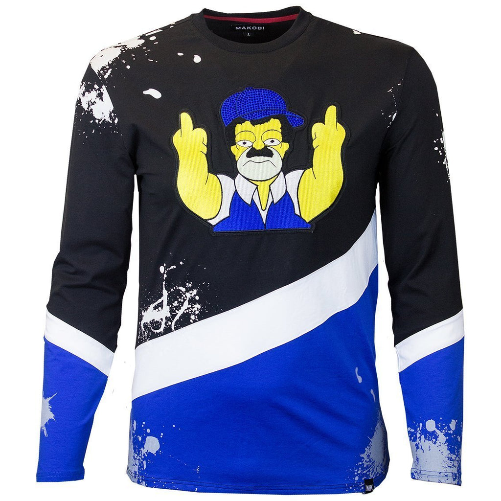 M209 MAKOBI EL CHAPO SIMPSON LONG SLEEVE TEE - ROYAL - Yabu Fashion