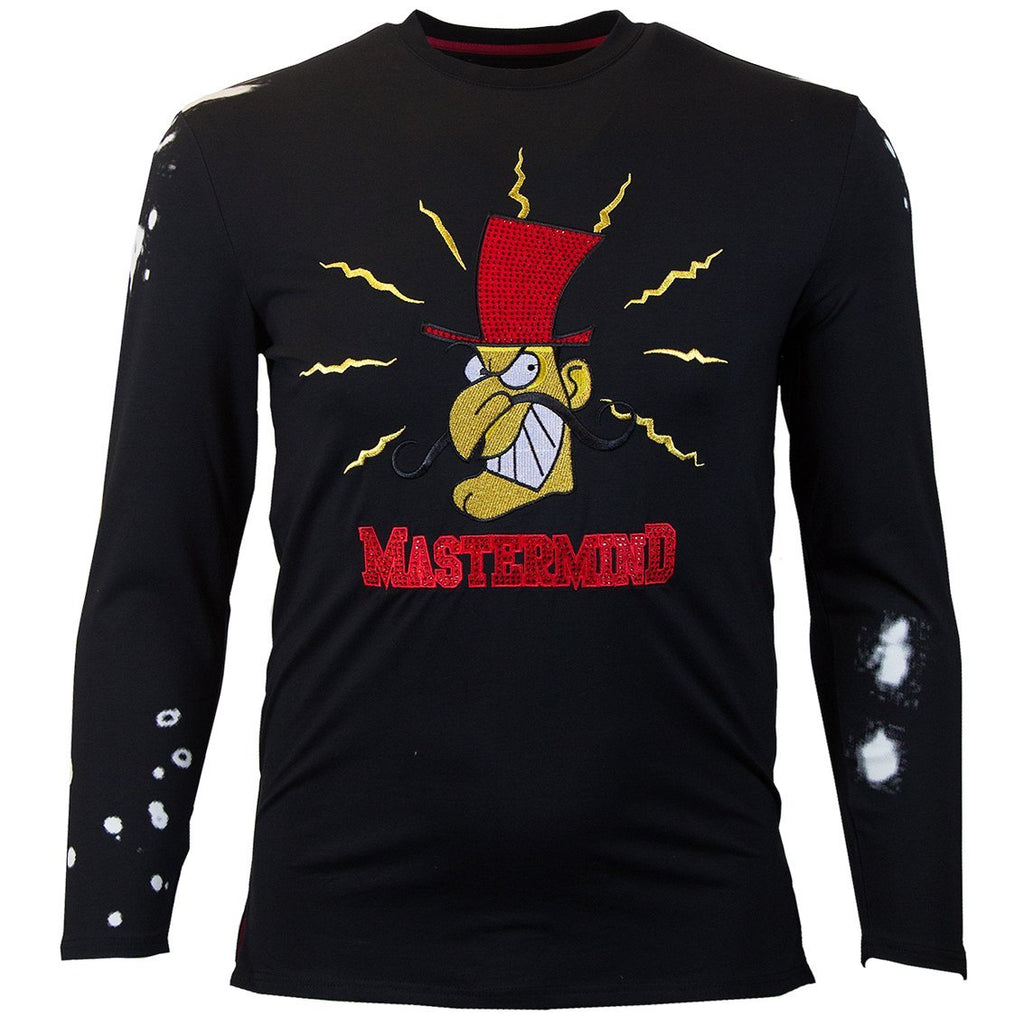 M228 MAKOBI MASTERMIND LONG SLEEVE TEE W/ RHINESTONES - BLACK - Yabu Fashion