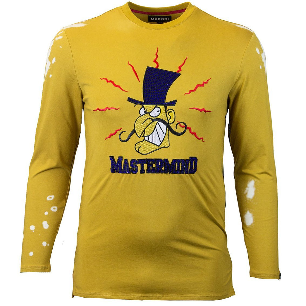 M228 MAKOBI MASTERMIND LONG SLEEVE TEE W/ RHINESTONES - WHEAT - Yabu Fashion