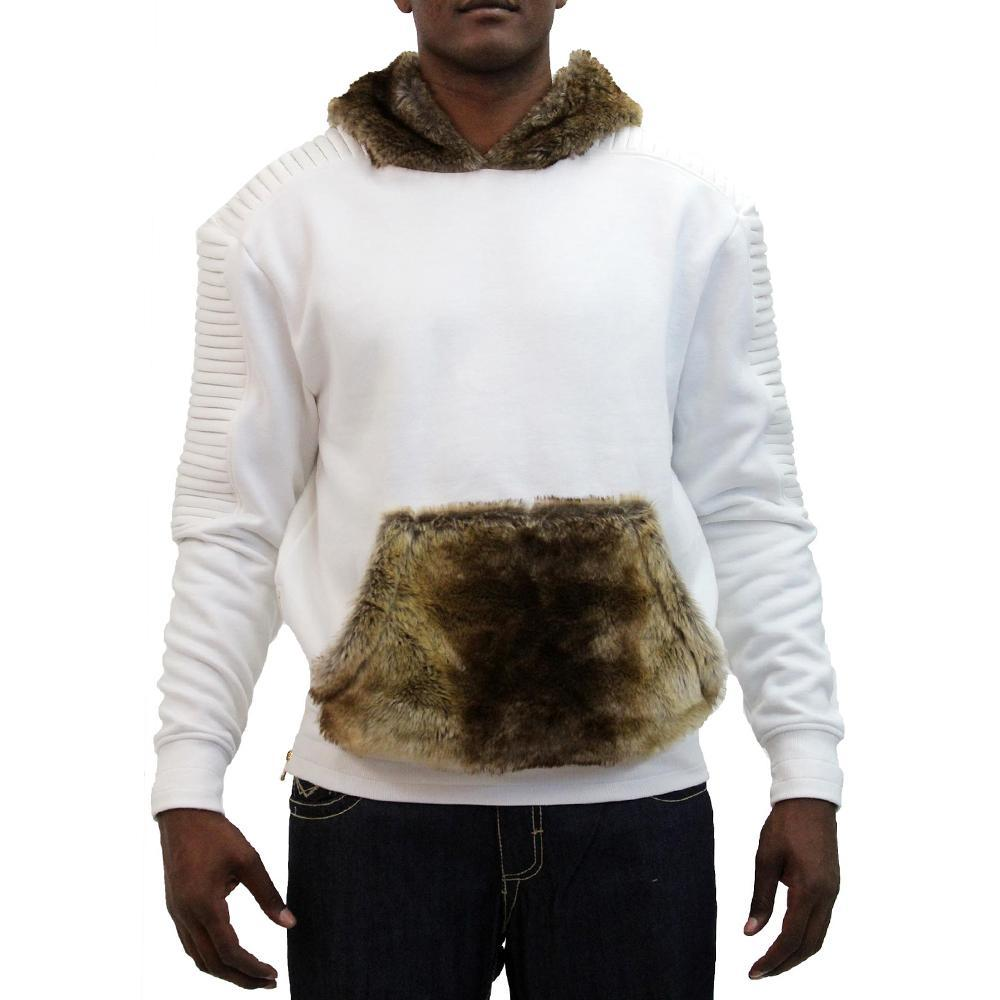 M3600 MAKOBI BIKER FLEECE HOODY W/ FUR - NATURAL - Yabu Fashion