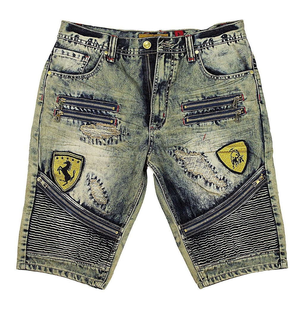 M730 MAKOBI BIKER SHORTS WITH PATCHES - DIRT WASH - Yabu Fashion