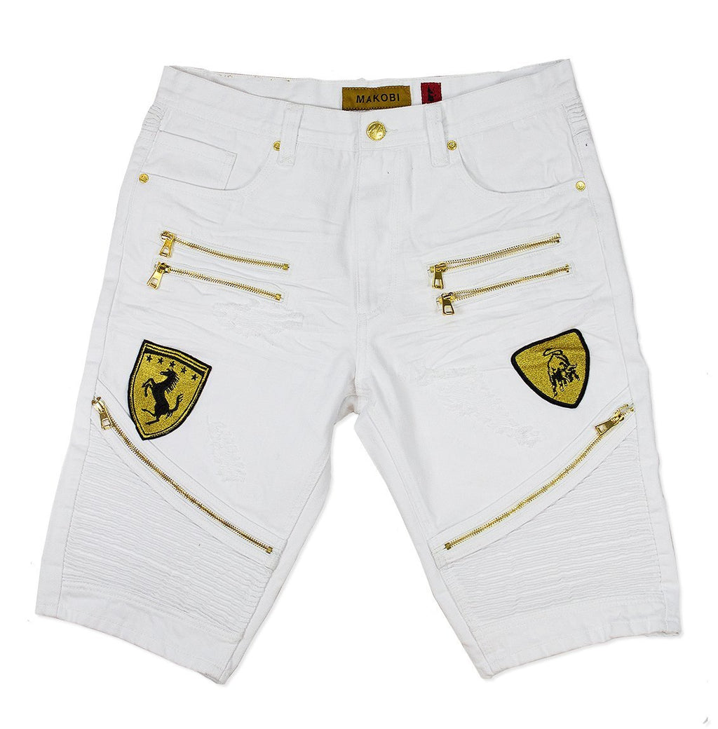 M730 MAKOBI BIKER SHORTS WITH PATCHES - WHITE - Yabu Fashion
