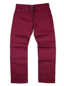 V1761 VENO RAW DENIM JEANS - BURGUNDY - Yabu Fashion