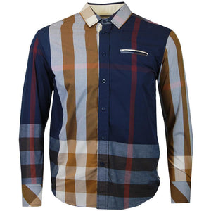 V1836 VENO LONG SLEEVE ENGINEERED PLAID SHIRT - Yabu Fashion