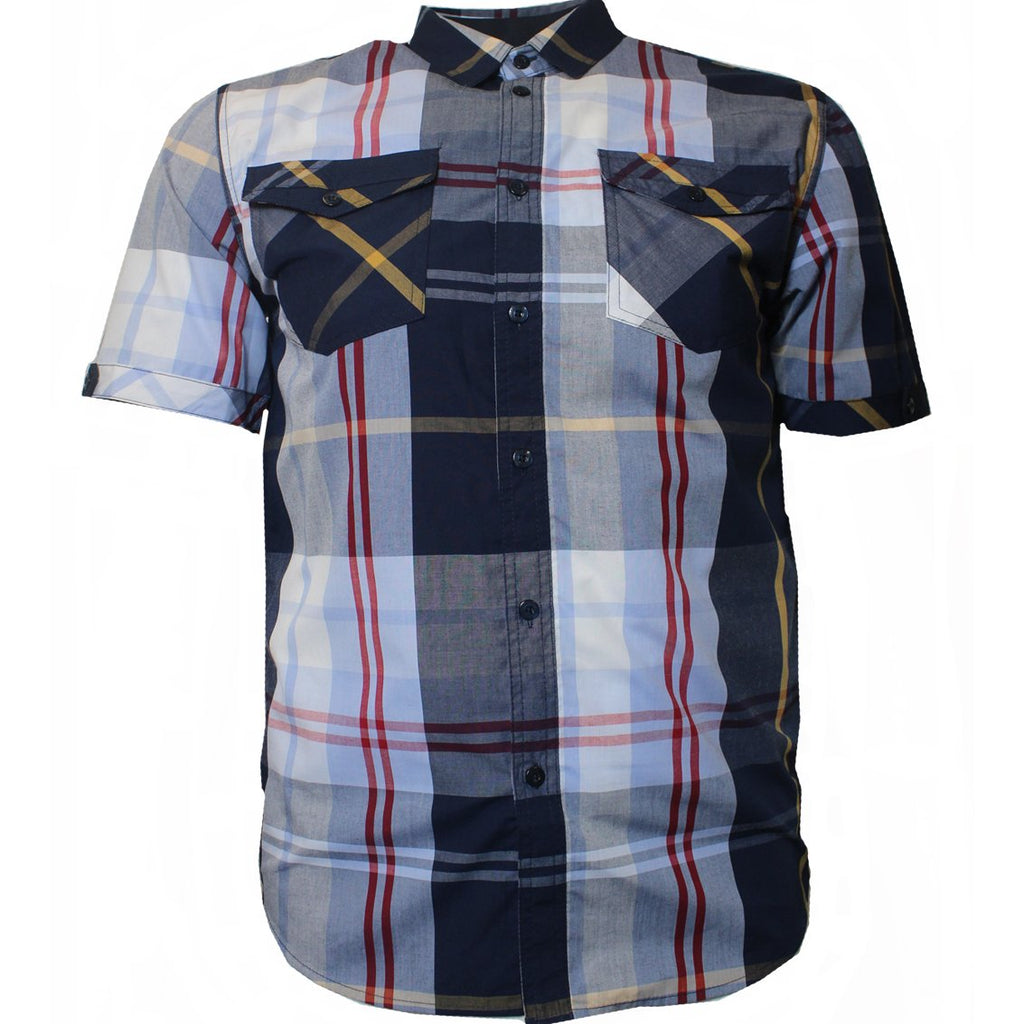 V825 VENO PLAID SHIRT NAVY - Yabu Fashion