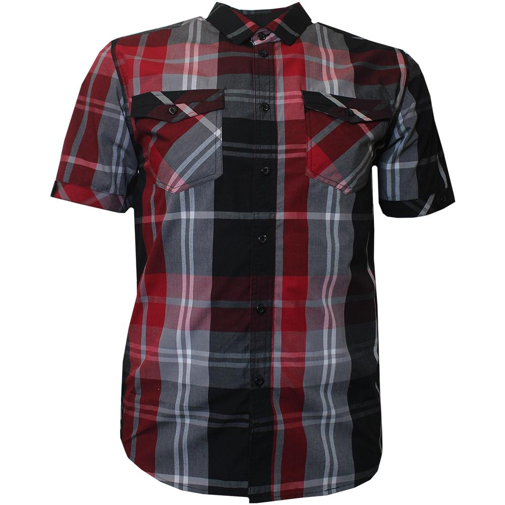 V825 VENO PLAID SHIRT BLACK / RED - Yabu Fashion
