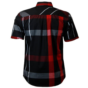 V834 VENO PLAID SHORT SLEEVE SHIRT BLACK/RED - Yabu Fashion